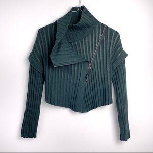 Sarah Pacini Merino Wool zip detail sweater